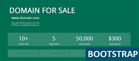 Domain For Sale Bootstrap Template Binarytheme Domain Landing Page Template