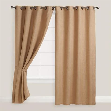 jute drapes hemp burlap grommet top curtains set of 2 creative