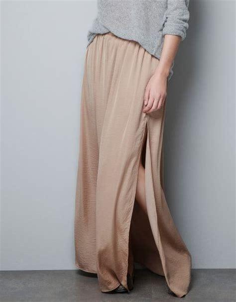 zara skirt with splits in beige lyst
