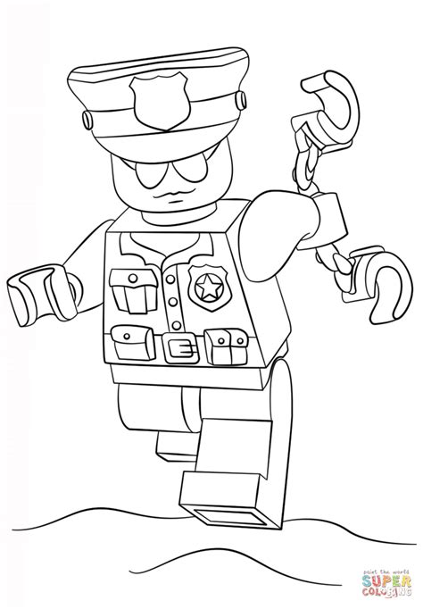 lego police officer coloring page free printable