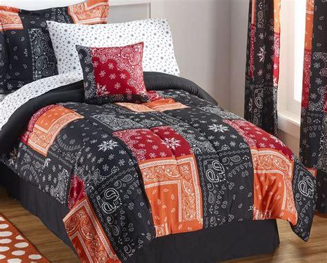 alcove bandana black 6 pc comforter set twin half a
