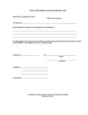lien waiver template lien waiver fill printable fillable blank