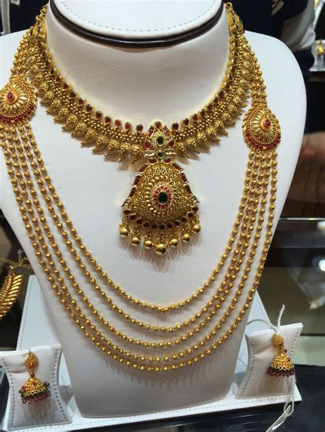 manga necklace  gold pearl haram grt jewellers
