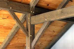 Timber post with brace rafter tie and hardwood pegs
