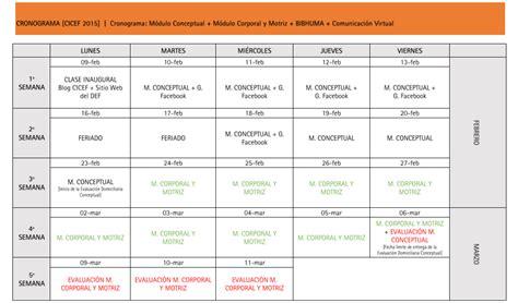 Calendario De Actividades Cicef 2015 Calendario De Actividades