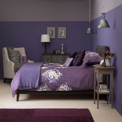 dusky plum bedroom with floral bed linen bedroom colour