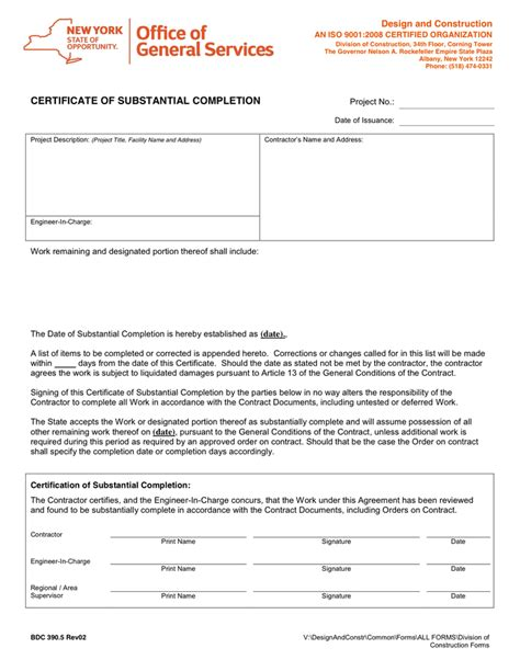 certificate of substantial completion template certificate of substantial completion in word and pdf formats