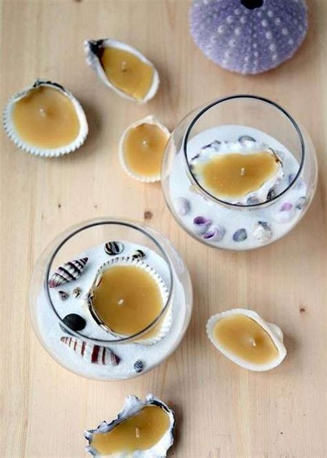 candele con conchiglie riciclo creativo delle conchiglie foto tempo libero