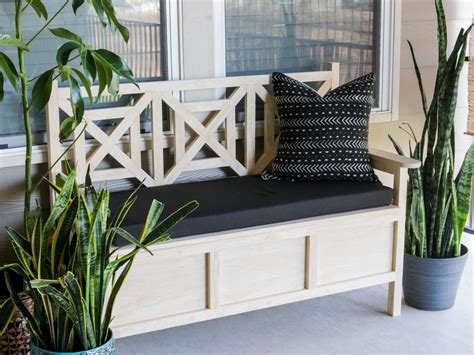 how to make a patio bench how to build an outdoor bench with storage hgtv