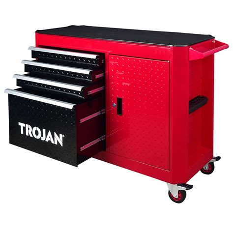 trojan tool chest and cabinet set trojan 4 drawer and 1 door roller cabinet bunnings