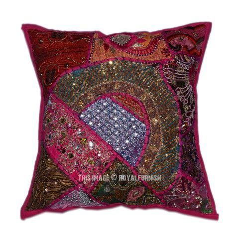 bead pillows 16 quot x16 quot pink decorative sequin vintage throw