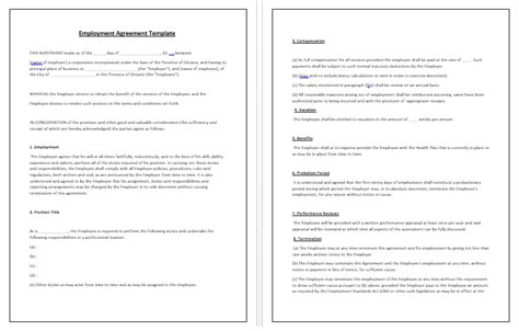 employment agreement template tips guidelines