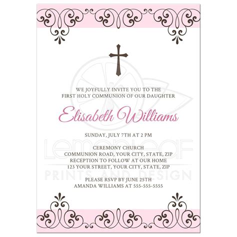pale pink and brown first holy communion invitation with