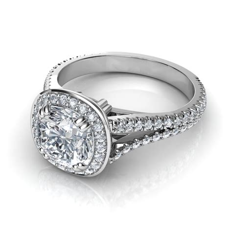 Engagement Ring by Split Shank Cushion Cut Halo Engagement Ring