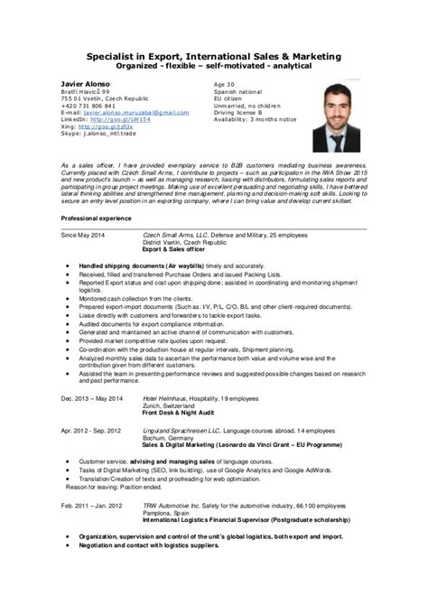 Curriculum Vitae Resume Sles For Teachers Mr Javier Alonso Specialist In Export International Sales Cv