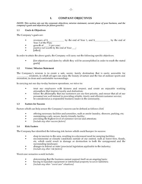 Cground Business Plan Legal Forms And Business Templates Megadox Com Rv Park Business Plan Template