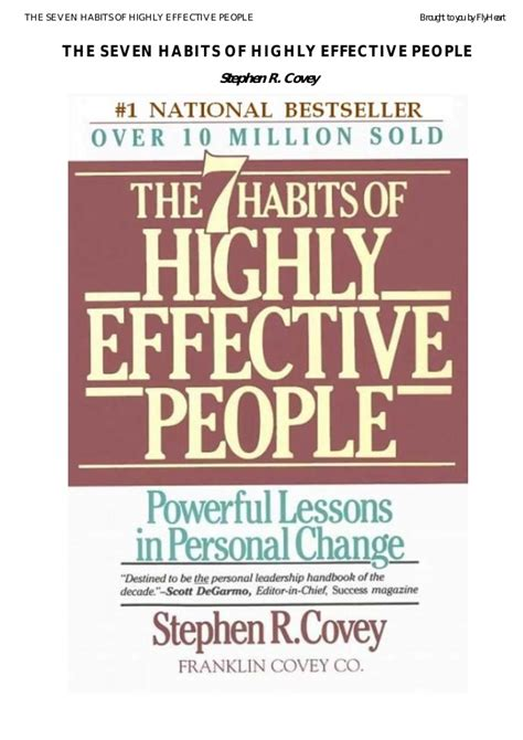 The 7 Habits Of Highly Effective By Stephen Rcovey seven habits of highly effective by stephen covey