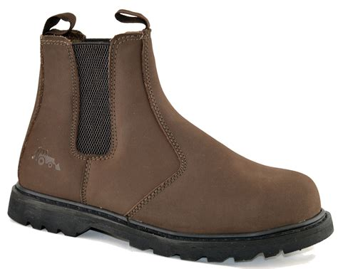 mens dealer work boots mens leather safety steel toe cap waterproof ankle dealer