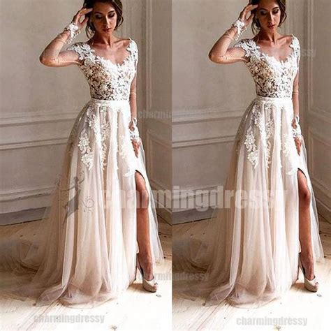 long sleeves lace  tulle unique fashion charming prom