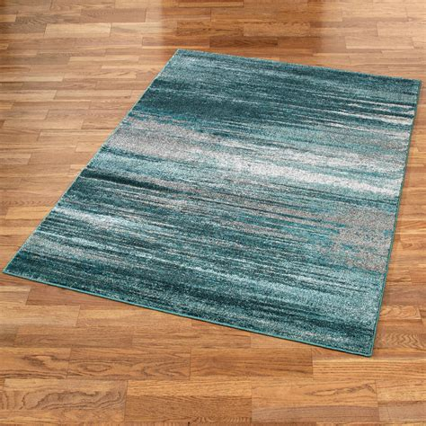 Stormy Skies Teal Abstract Area Rugs Area Rug