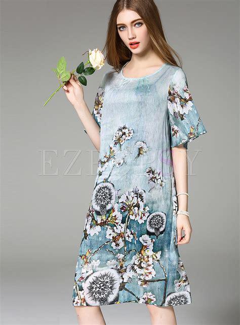 Print Sleeve Shift Dress half sleeve o neck print shift dress ezpopsy