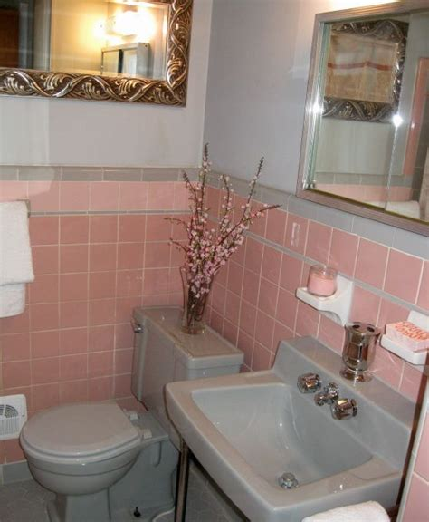 Pink Tile Bathroom Decorating Ideas by 50 S Pink And Grey Tile Bathroom Vintage Tile Bathrooms