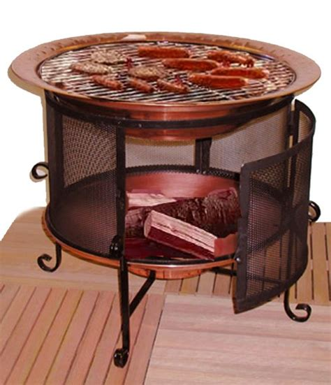 Chiminea Cooking by Copper Firepit Chiminea