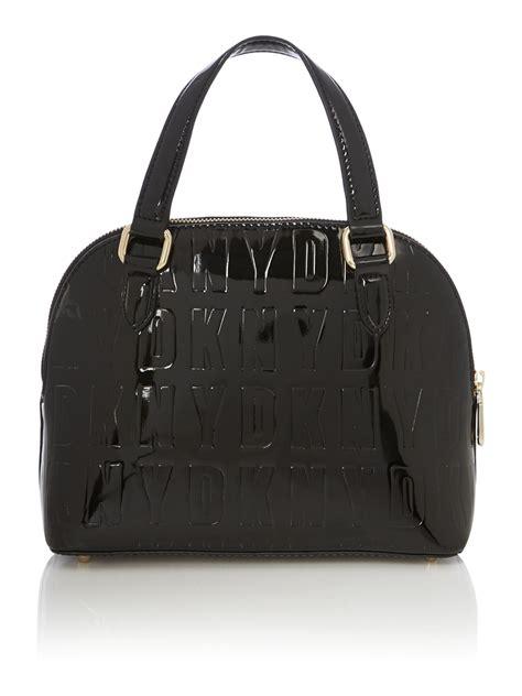 Who Wore It Better Treesje Black Patent Bag by Lyst Dkny Embossed Patent Black Mini Satchel Bag