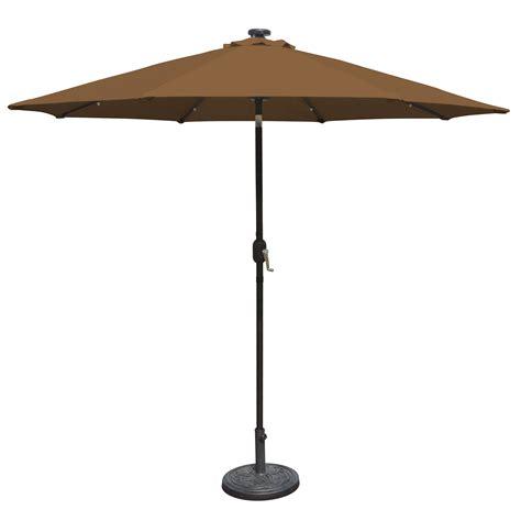 Solar Patio Umbrellas Island Umbrella Mirage 9 Ft Market Solar Led Auto Tilt Patio Umbrella In Olefin