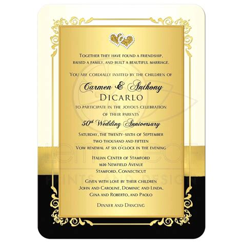 templates for golden wedding invitations template golden anniversary invitations template