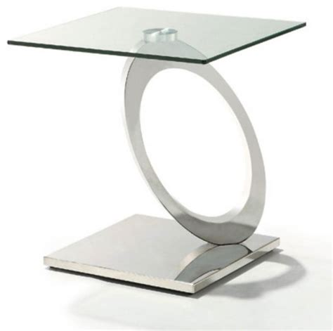 glass and chrome side table modern glass and chrome end table bari