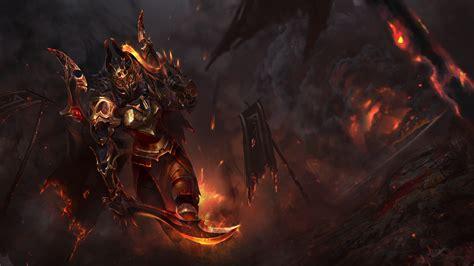 wallpaper fantasy art fire dota  lava legion