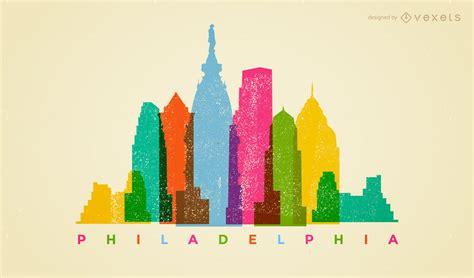colorful philadelphia skyline vector