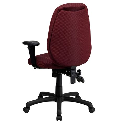 Ergonomic Home High Back Burgundy Fabric Multi Functional Swivel Office Chair