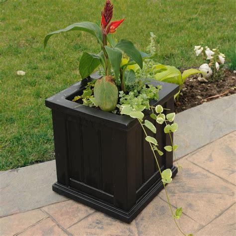 mayne cape cod 14 in square black plastic planter 4836 b