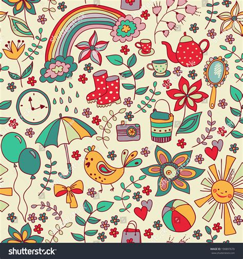 doodle users doodle seamless pattern childish style stock vector
