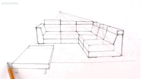 how to draw furniture sofa easy perspective drawing 23 youtube drawn couch architectural drawing pencil and in color