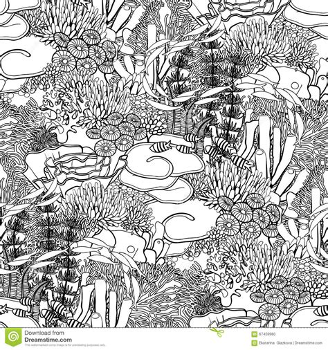 ocean background coloring page coral reef pattern stock vector image 67459980