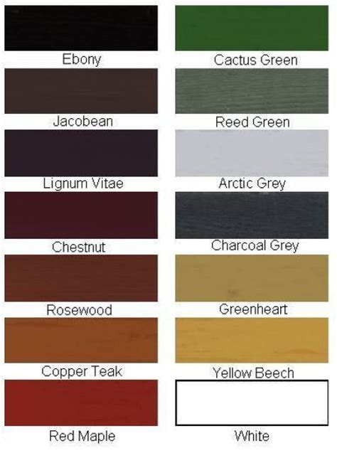Berger Decorative Paints by Wood Treatments Colour Chart