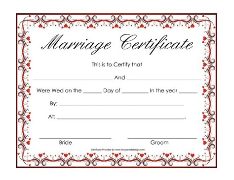 Marriage Certificate Records Free Blank Marriage Certificates Printable Marriage Certificate Hearts Marriage