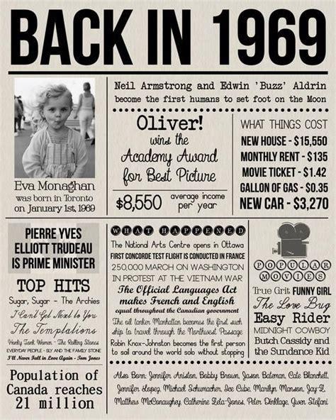 Back in 1969 Print, Personalised 1969 Newspaper Poster