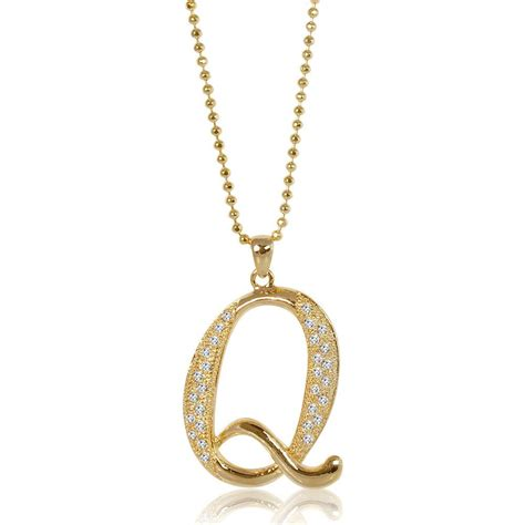 Rhinestone Pendant Necklace berricle gold tone rhinestone initial letter fashion