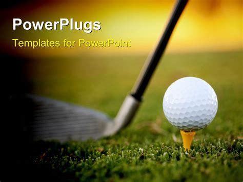 Powerpoint Template Golf Club Resting On Green Behind Golf Powerpoint Template