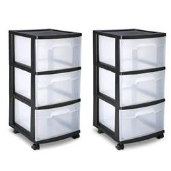 sterilite 3 drawer cart storage plastic box organizer