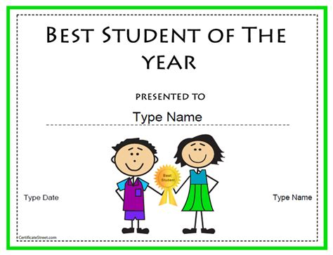 education certificate best student of the year