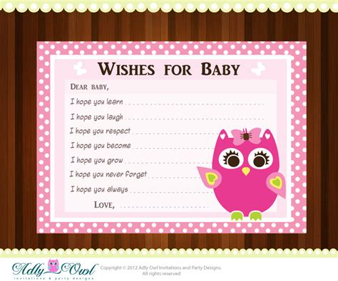 baby shower cards pink owl baby shower wish and advice card printable diy