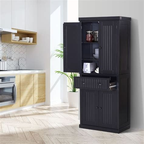 homcom traditional freestanding kitchen pantry cabinet