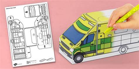 Ambulance Paper Craft 3d ambulance paper model activity activities crafts craft