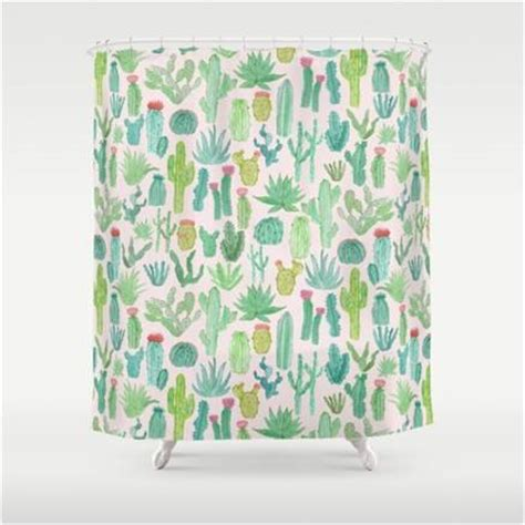 Curtains Pipe Desert Succulents Featured On Cactus Shower Curtain