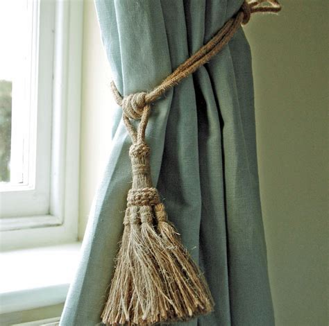 drapery tie back bowley jackson french shabby chic natural rope curtain